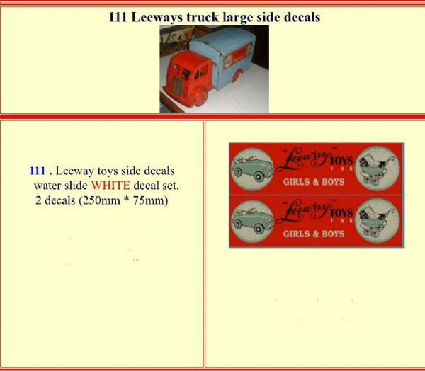 "111 LEEWAY truck "" LARGE SIDE ""  White decal set"