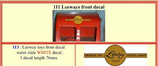"113 LEEWAY "" FRONT "" White decal"