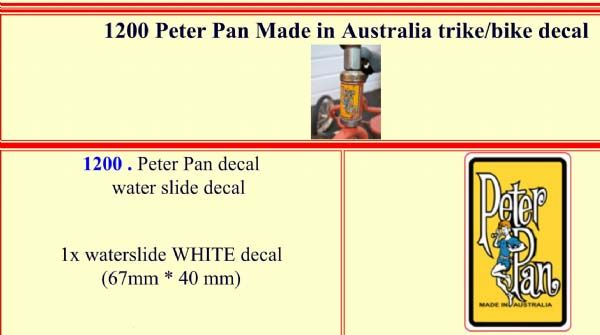1200 Peter Pan Made in Australia Trike / Bike decal