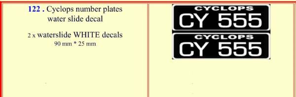 122 Cyclops number plates water slide decal