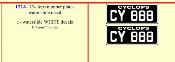 122A Cyclops number plates water slide decal