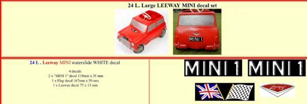 "24L Large LEEWAY "" MINI "" White decal set"