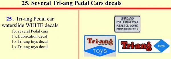 25 Several Tri-ang Pedal Cars decals