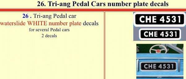 26 Tri-ang Pedal Cars number plate decals