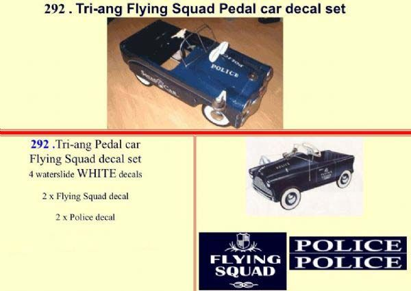 292 Tri-ang Flying Squad Pedal car decal set