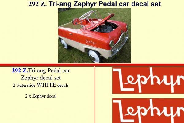 292Z Tri-ang Zephyr Pedal car decal set