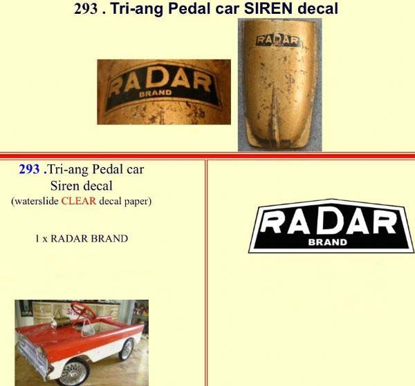293 Tri-ang Pedal car SIREN decal