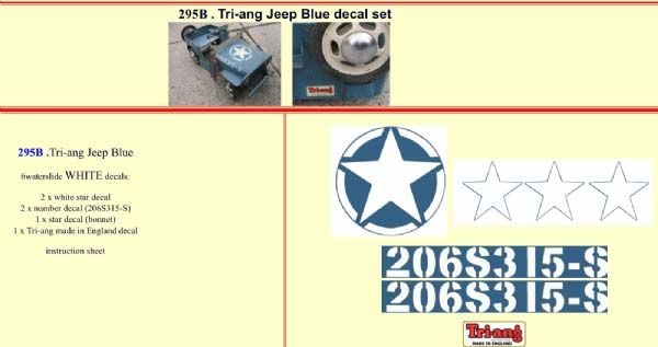 295B Tri-ang Jeep Blue decal set