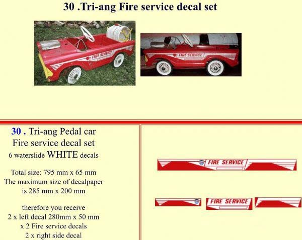 30 Tri-ang Fire service decal set