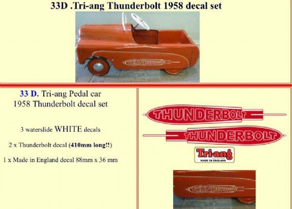 33D Tri-ang Thunderbolt 1958 decal set
