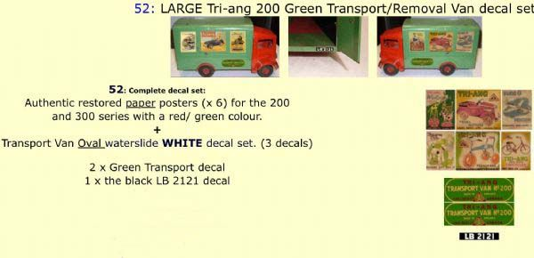 52   LARGE Tri-ang 200 Green Transport/ Removal Van Paper and White decal set