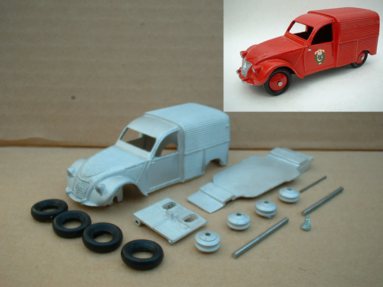 a dinky toys copy model 25d 2cv citroen fire incendie in kit form