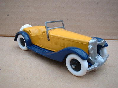 A DINKY TOYS COPY MODEL 36E 2 SEATER SALMSON YELLOW AND BLUE