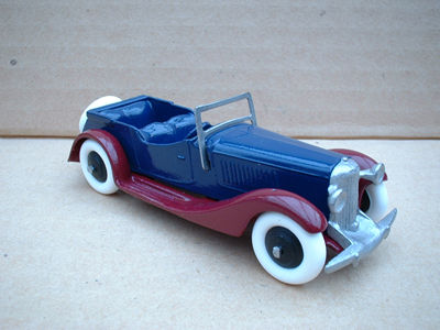 A DINKY TOYS COPY MODEL 36F 4 SEATER SALMSON BLUE AND BURGUNDY
