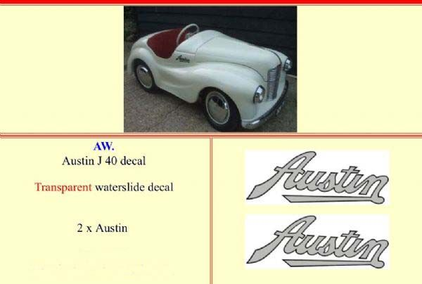 "AW Austin J40 Pedal car "" Transparent "" Decal Set"