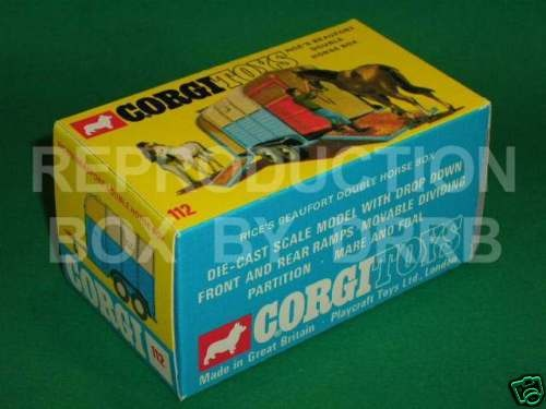 Corgi #112 Rice's Double Horse Box - Reproduction Box