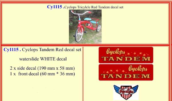 CY1115 Cyclops Tricylcle Red Tandem decal set