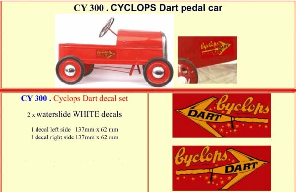 CY300 CYCLOPS Dart Pedal Car decal set