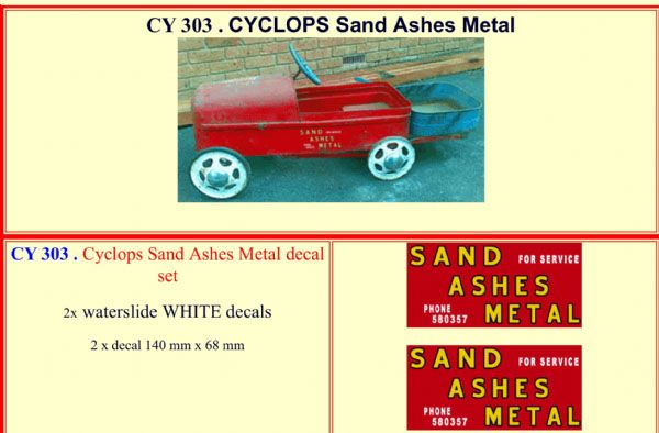 CY303 CYCLOPS Sand Ashes Metal Pedal Car decal set