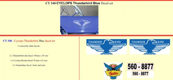 CY340 Cyclops Thunderbird Blue Pedal Car decal set