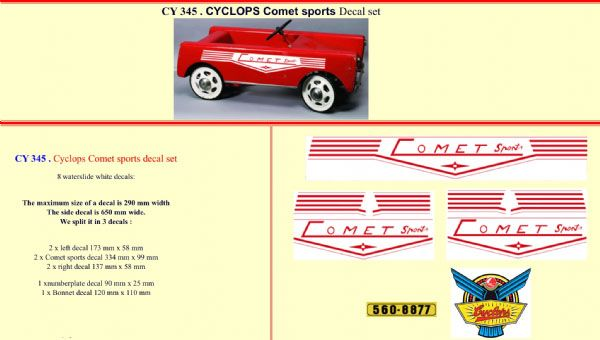 CY345 Cyclops Comet sports Pedal Car decal set