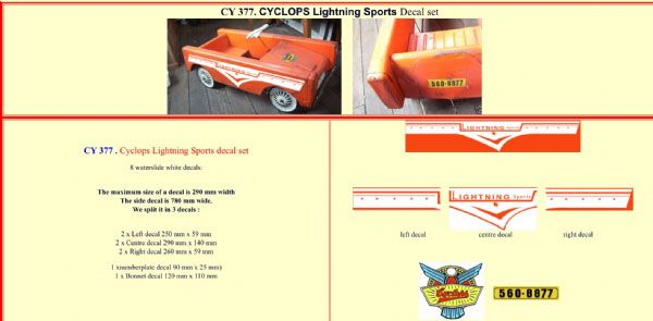 CY377 Cyclops Lightning Sports Pedal Car decal set