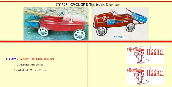 CY395 Cyclops Tip truck Pedal Car decal set