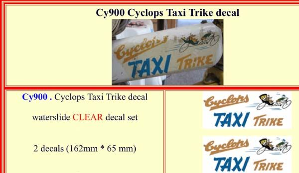 CY900 Cyclops Taxi Trike decal