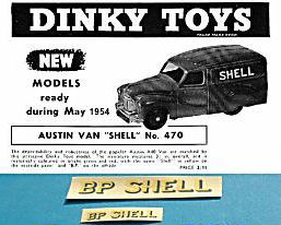 "Dinky Toys 470 Austin ""BP SHELL"" TRANSFERS / DECALS"