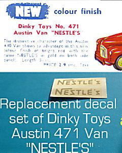 "Dinky Toys 471 Austin ""NESTLES"" TRANSFERS / DECALS"