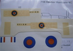 Dinky Toys 718 Hurricane complete set Transfers with Instructions JX B Squadron markings & Roundals TRANSFERS / DECALS