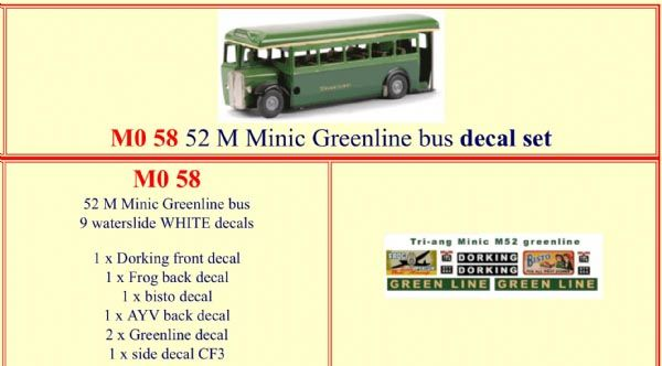 M058 52M Tri-ang ( Triang ) Minic Single Deck bus GREENLINE decal set