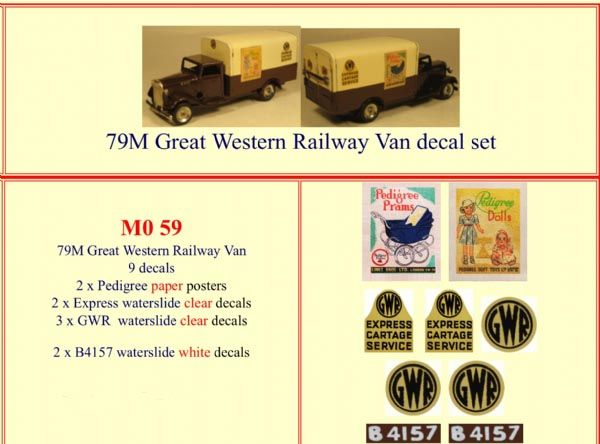M059 Tri-ang ( Triang ) 79M Minic Great Western Railway Van decal set