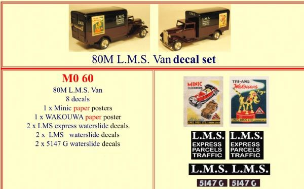 M060 Tri-ang ( Triang ) 80M Minic L.M.S. Van decal set