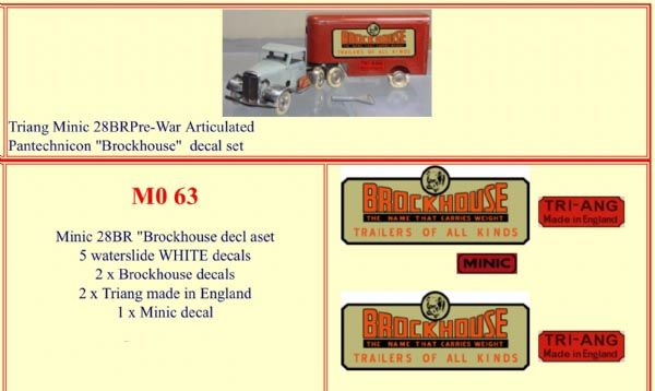 "M063 Tri-ang ( Triang ) Minic 28BR Pre-War  Articulated Pantechnicon "" BROCKHOUSE "" decal set"