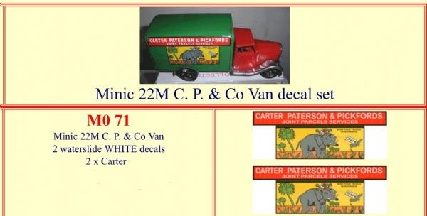 "M071 Tri-ang ( Triang ) Minic 22M  "" CARTER PATERSON & PICKFORDS "" Van decal set"