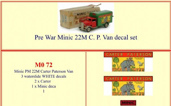 "M072 Tri-ang ( Triang ) Minic 22M Pre-War  "" CARTER PATERSON "" Van decal set"