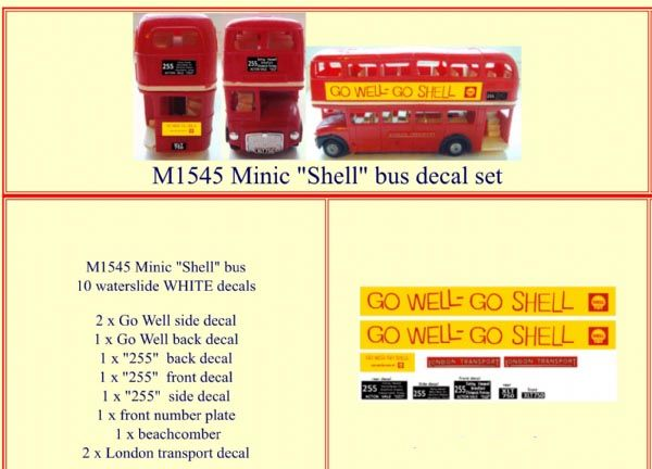 "M1545 Tri-ang ( Triang ) Minic Double Decker bus "" GO WELL-GO SHELL "" decal set"