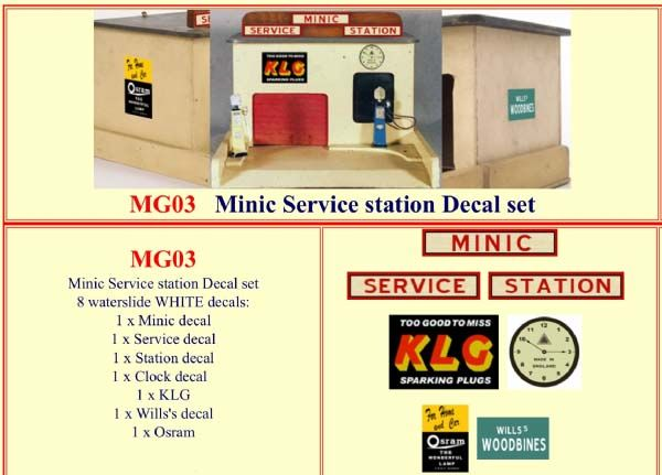 MG03 Tri-ang ( Triang ) Minic Service Station Decal set