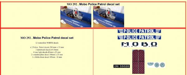 MO292 Mobo Police Patrol Pedal Car decal set