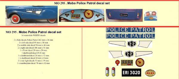 MO295 Mobo Police Patrol Pedal Car decal set