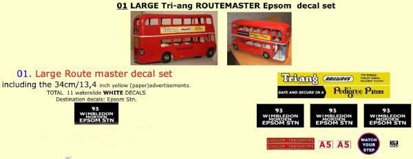 "01 LARGE Tri-ang Triang ROUTEMASTER Bus "" EPSOM STN "" Paper and White decal set"