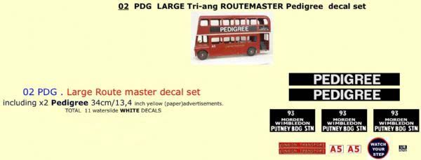 "02PDG LARGE Tri-ang Triang ROUTEMASTER Bus "" PEDIGREE "" Paper and White decal set"