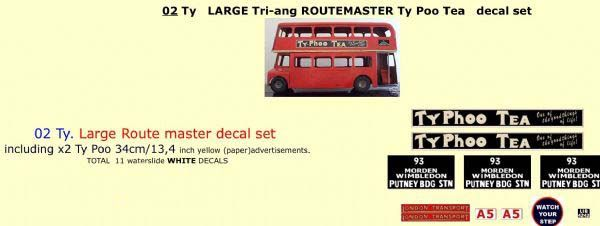 "02TY LARGE Tri-ang Triang ROUTEMASTER Bus "" TYPHOO TEA "" Paper and White decal set"