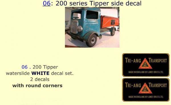 06 Tri-ang 200 series Tipper side White decal set