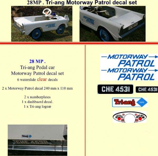 28MP Tri-ang Motorway Patrol decal set