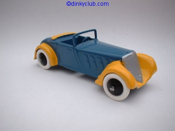 A DINKY TOYS COPY MODEL 22C FRENCH ROADSTER SPORT RUBBER TYRES BLUE AND YELLOW