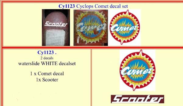 CY1123 Cyclops Comet decal set