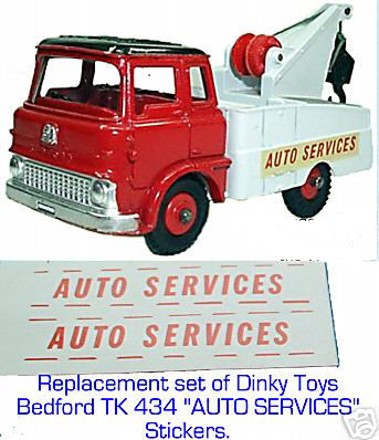 "Dinky Toys 434 BEDFORD TK ""AUTO SERVICES"" (THESE ARE STICKERS) TRANSFERS / DECALS"