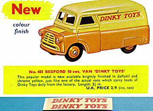 "Dinky Toys 482 Bedford ""DINKY TOYS"" TRANSFERS / DECALS"